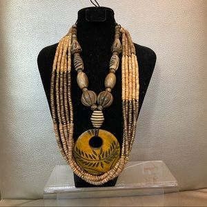 Wood beaded 2pc statement necklace set